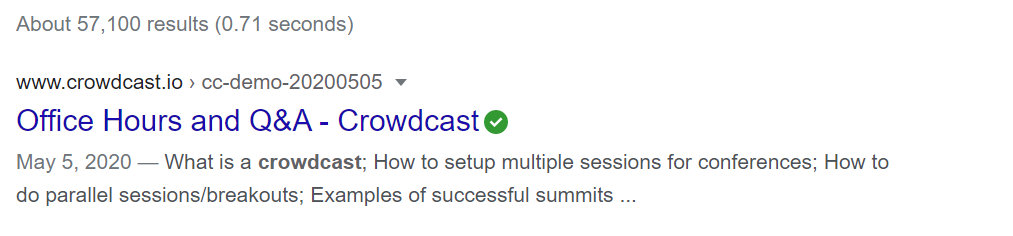 A picture of what the short description looks like in a search engine like Google