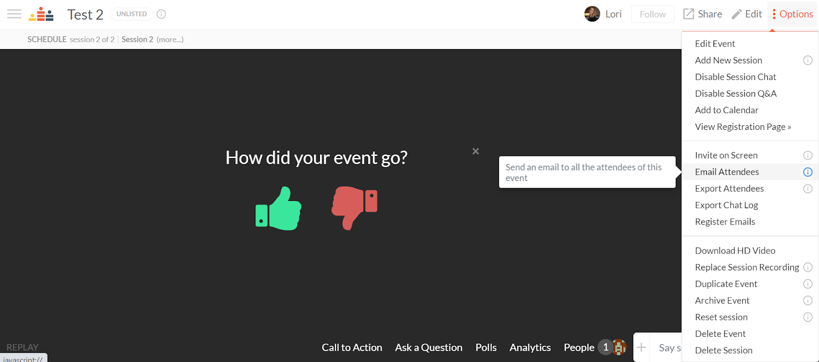 Within the options menu on the top right hand corner, there is an option to email attendees